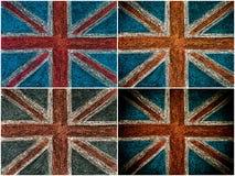 Bandera británica del Union Jack de Reino Unido, dibujo de la mano con tiza en la pizarra Fotos de archivo libres de regalías