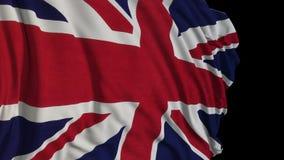 Bandera británica en la cámara lenta La bandera se convierte suavemente en el viento ilustración del vector