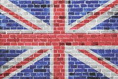 bandera británica pintada en la pared de ladrillo imagen de archivo libre de regalías