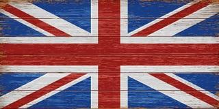 Bandera BRITÁNICA pintada en viejo fondo de madera de los tablones Imagen de archivo libre de regalías