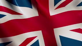 Bandera BRITÁNICA que agita en el viento - animado almacen de metraje de vídeo