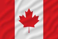 Bandera canadiense con una hoja del pote en el centro foto de archivo