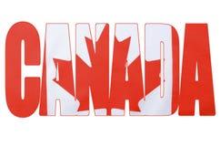 Bandera canadiense en el esquema de la palabra, Canadá Fotos de archivo