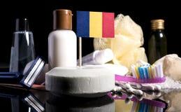 Bandera chadiana en el jabón con todos los productos para la gente Fotografía de archivo