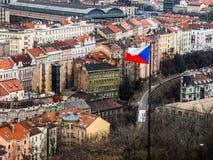 Bandera checa en Praga Imagen de archivo libre de regalías