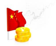 Bandera china con las monedas Fotos de archivo libres de regalías