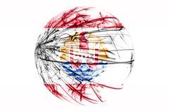 Bandera chispeante francesa de Polinesia del extracto, concepto de la bola de la Navidad aislada en el fondo blanco libre illustration