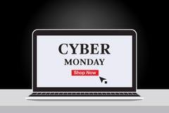 Bandera cibernética de las ventas de lunes con el cuaderno y el fondo negro de la pendiente ilustración del vector