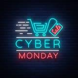 Bandera cibernética en estilo de neón de moda, letrero luminoso, anuncio nocturno del concepto de lunes de la publicidad de venta Imagen de archivo