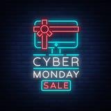 Bandera cibernética en estilo de neón de moda, letrero luminoso, anuncio nocturno del vector de lunes de la publicidad de ventas Fotografía de archivo