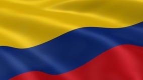 Bandera colombiana en el viento stock de ilustración