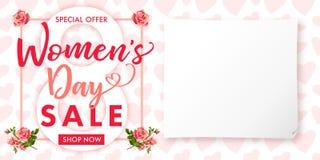 Bandera color de rosa de la venta de la flor del día para mujer feliz Foto de archivo libre de regalías