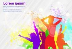 Bandera colorida de baile de la danza de la pintura del chapoteo de la muchacha ilustración del vector