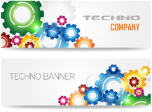 Bandera colorida de los engranajes de la tecnología Fotografía de archivo libre de regalías