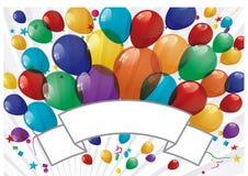Bandera colorida de los globos - ejemplo Imagenes de archivo