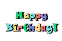 Bandera colorida del feliz cumpleaños aislada en un fondo blanco stock de ilustración