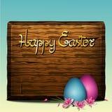 Bandera colorida para el fondo feliz de Pascua de la venta y de la primavera de pascua con la muestra de madera realista, los hue stock de ilustración