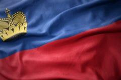 Bandera colorida que agita de Liechtenstein Imagen de archivo