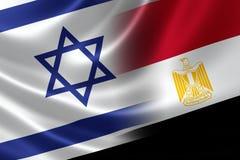 Bandera combinada de Israel y de Egipto Imágenes de archivo libres de regalías