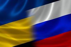 Bandera combinada de Ucrania y de Rusia Foto de archivo