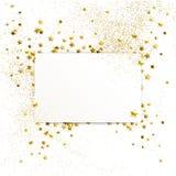 Bandera con el confeti de las estrellas y de las chispas del oro ilustración del vector