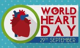 Bandera con el diseño humano del corazón para celebrar el día del corazón del mundo, ejemplo del vector Imágenes de archivo libres de regalías