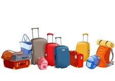 Bandera con el equipaje, maletas, mochilas, paquetes Foto de archivo