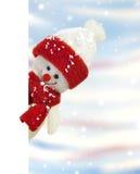 Bandera con el muñeco de nieve Fotos de archivo
