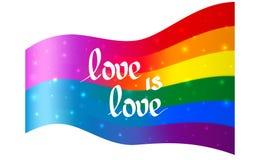 Bandera con el var?n y vueltas femeninas del color en una bandera del arco iris del lgbt y del lgbtq del orgullo Fondo del vector stock de ilustración