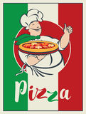 Bandera con la bandera italiana, pizza y cocinero del guiño Foto de archivo