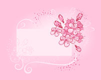 Bandera con la cereza floreciente Imagen de archivo libre de regalías