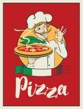 Bandera con la pizza de la inscripción y el cocinero del guiño Fotos de archivo