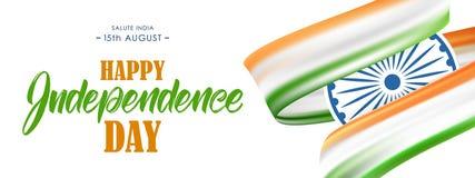 Bandera con la bandera y las letras indias de la mano del Día de la Independencia feliz décimo quinto August Salute India ilustración del vector