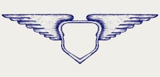 Bandera con las alas Imagen de archivo libre de regalías