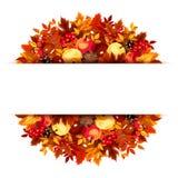 Bandera con las hojas de otoño Vector EPS-10 Imagen de archivo libre de regalías