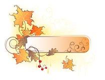 Bandera con las hojas de otoño Imagen de archivo libre de regalías