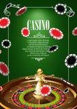 Bandera con las insignias del logotipo del casino Imagen de archivo libre de regalías
