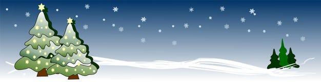 Bandera con los árboles de Navidad y las estrellas que brillan intensamente Foto de archivo