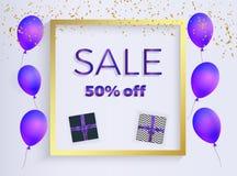 Bandera con los globos formados púrpuras, regalo con las cintas, confeti de la venta de la caja del oro Plantilla para la present ilustración del vector