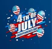 Bandera con los globos para el Día de la Independencia Imagen de archivo libre de regalías