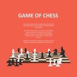 Bandera con los pedazos de ajedrez en un tablero de ajedrez Imágenes de archivo libres de regalías