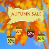 Bandera con venta y las bellotas del otoño en un fondo hexagonal de hojas stock de ilustración