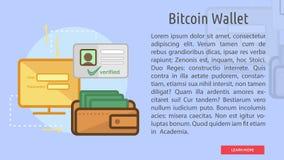 Bandera conceptual de la cartera de Bitcoin Fotografía de archivo libre de regalías