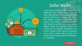 Bandera conceptual de la cartera del dólar Imágenes de archivo libres de regalías