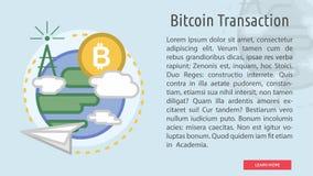 Bandera conceptual de la transacción de Bitcoin Imagen de archivo libre de regalías
