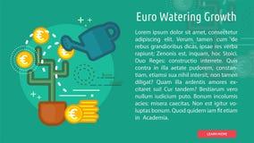 Bandera conceptual de riego del crecimiento del euro Fotografía de archivo