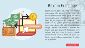 Bandera conceptual del intercambio de Bitcoin Imágenes de archivo libres de regalías