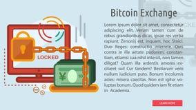 Bandera conceptual del intercambio de Bitcoin Imagen de archivo libre de regalías
