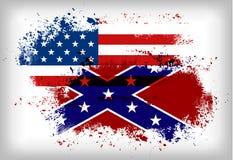 Bandera confederada contra Bandera de unión Concepto de la guerra civil Foto de archivo libre de regalías