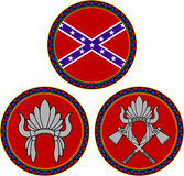 Bandera confederada y tocado indio Fotos de archivo